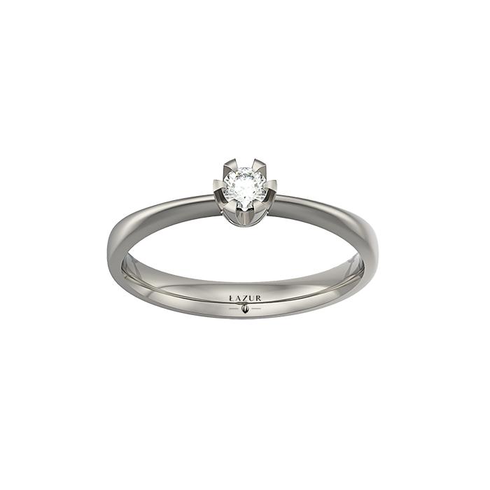 Pierścionek z brylantem 3 mm 0.10 ct w białym złocie palladowanym 14K