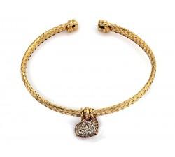 Bransoletka z złota 585 14K pleciona sztywna otwarta z sercem