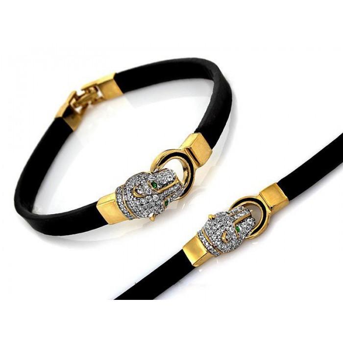 Bransoletka z czarną skórą i złotą głową pumy wysadzaną cyrkoniami