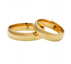 Para obrączek klasycznych półokrągłych złoto 585 szerokość 4 mm