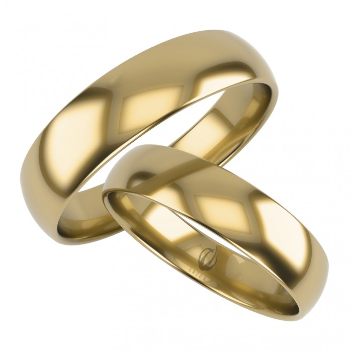 Klasyczna para obrączek półokrągłych 6 mm złoto 333