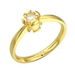 Pierścionek z żółtego złota 585 14K z brylantem w klasycznej oprawie