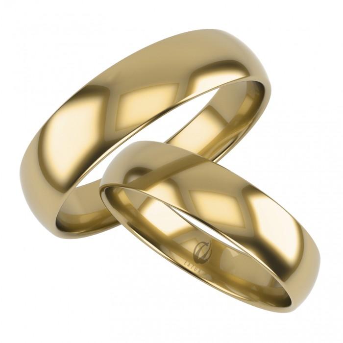 Klasyczna para obrączek półokrągłych 6 mm złoto 585 z soczewką wewnętrzną