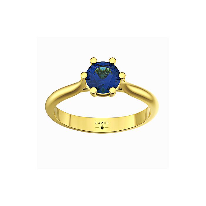 Pierścionek złoty z dużym szafirem 5 mm doskonałe wykonanie piękny model