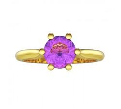Pierścionek złoty z dużym ametystem niebieskim 5 mm doskonałe wykonanie piękny model