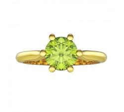 Pierścionek złoty z dużym olwinem 5 mm doskonałe wykonanie piękny model
