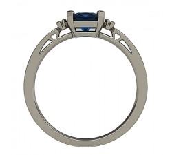 Wspaniały pierścionek z białego złota duży szafir cushion 5mm i brylanty