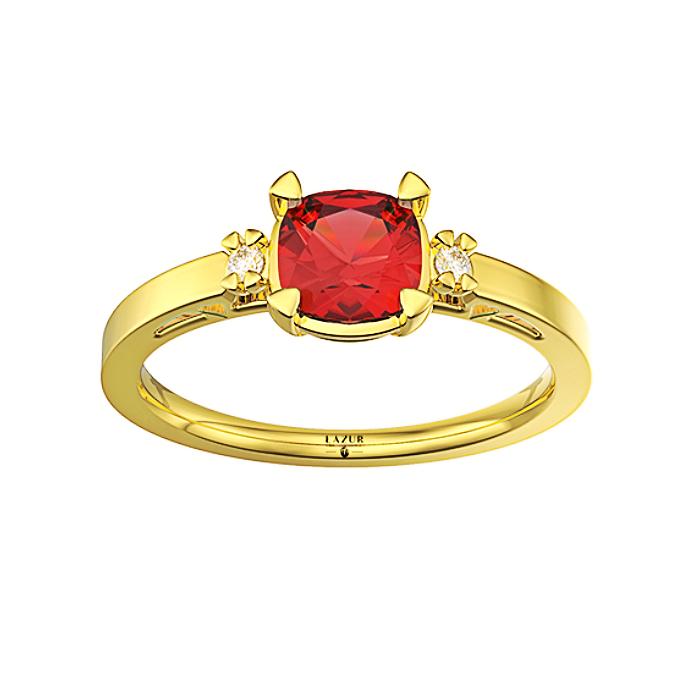 Wspaniały pierścionek złoty z dużym rubinem cushion 5mm i brylantami