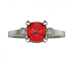 Wspaniały pierścionek z białego złota duży rubin cushion 5mm i brylanty