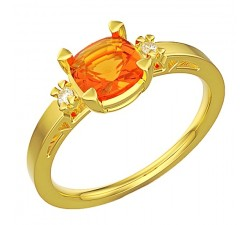 Wspaniały pierścionek złoty z dużym Cutrynem cushion 5mm i brylantami
