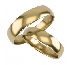 zamówienie Klasyczna para obrączek półokrągłych z brylantem złoto 585 14K