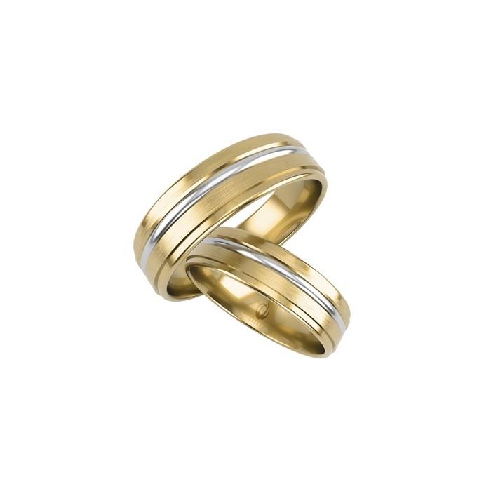 Obrączki 5 mm łączone kolory złota 585 białe i żółte