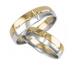 Zamówienie Ewa para złotych obrączek złoto żółte i białe palladowe 585 14K