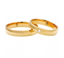 zamówienie p. Damian klasyczna para obrączek z diamentem półokrągłych złoto 585 14K