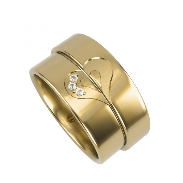 zamówienie Para obrączek złotych 375 9K z sercem dzielonym na pół z diamentami