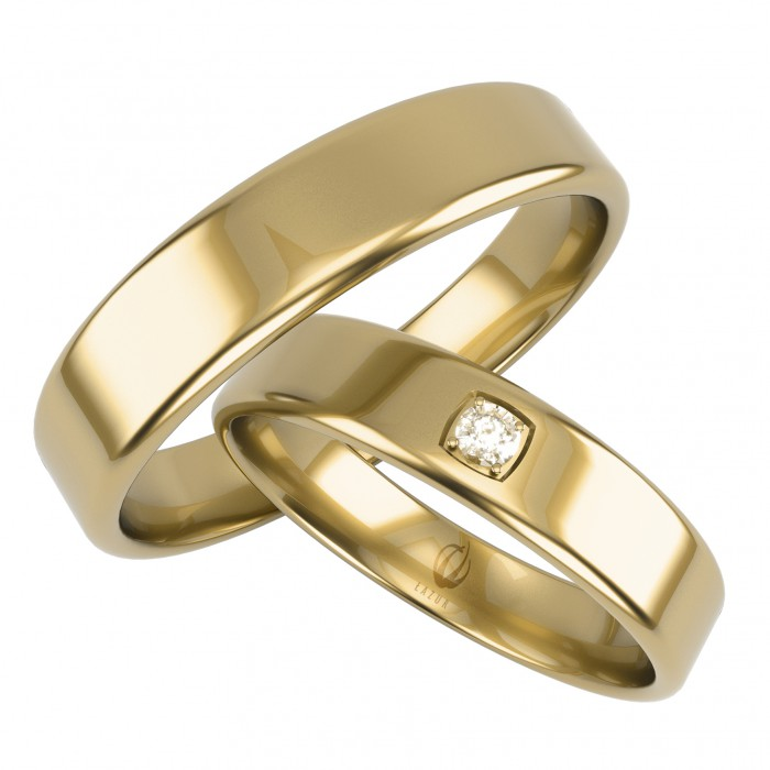 Obrączki złote 585 14K klasyczne prosty profil damska z jedną cyrkonią