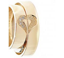 Para obrączek złotych 6 mm 333 8K z sercem dzielonym na pół z diamentami