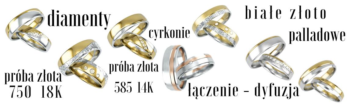 Obrączki z kamieniami (brylanty i cyrkonie)