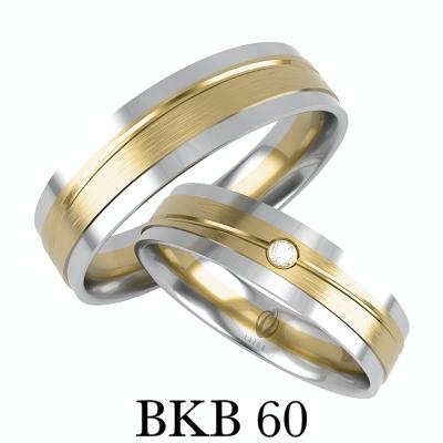 BIZUTERIAKUMOR.PL obrączki prosty profil łaczone dwa klory złota satyna i cyrkonia brylant zdobione frezem BKB60