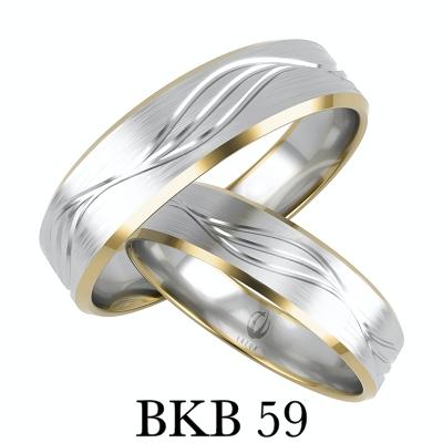 BIZUTERIAKUMOR.PL obrączki prosty profil fazowane boki dwa kolory złota markiza zdobione frezem BKB59