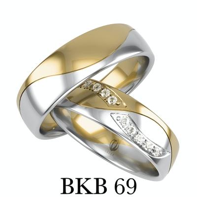 Obrączki dwa kolory złota żółte złoto i białe złoto cyrkonie lub brylanty poler lub satyna BKB69