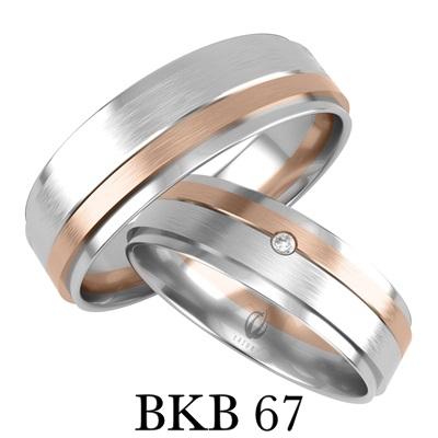 bizuteriakumor.pl obrączka białe i różowe złoto brylant cyrkonia profil prosty o różnej wysokości BKB67