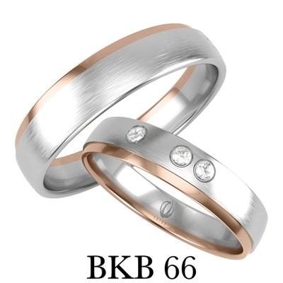 bizuteriakumor.pl obrączka białe i różowe złoto trzy brylanty cyrkonie profil klasyczny BKB66