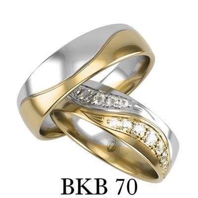 bizuteriakumor.pl obrączki łączone dwa kolory złota białe żloto z żółtym i cyrkonie brylanty bkb70