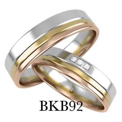 bizuteriakumor.pl obrączki o prostym profilu łączone trzy kolory złotaa dodatkowo cyrkonie bkb92