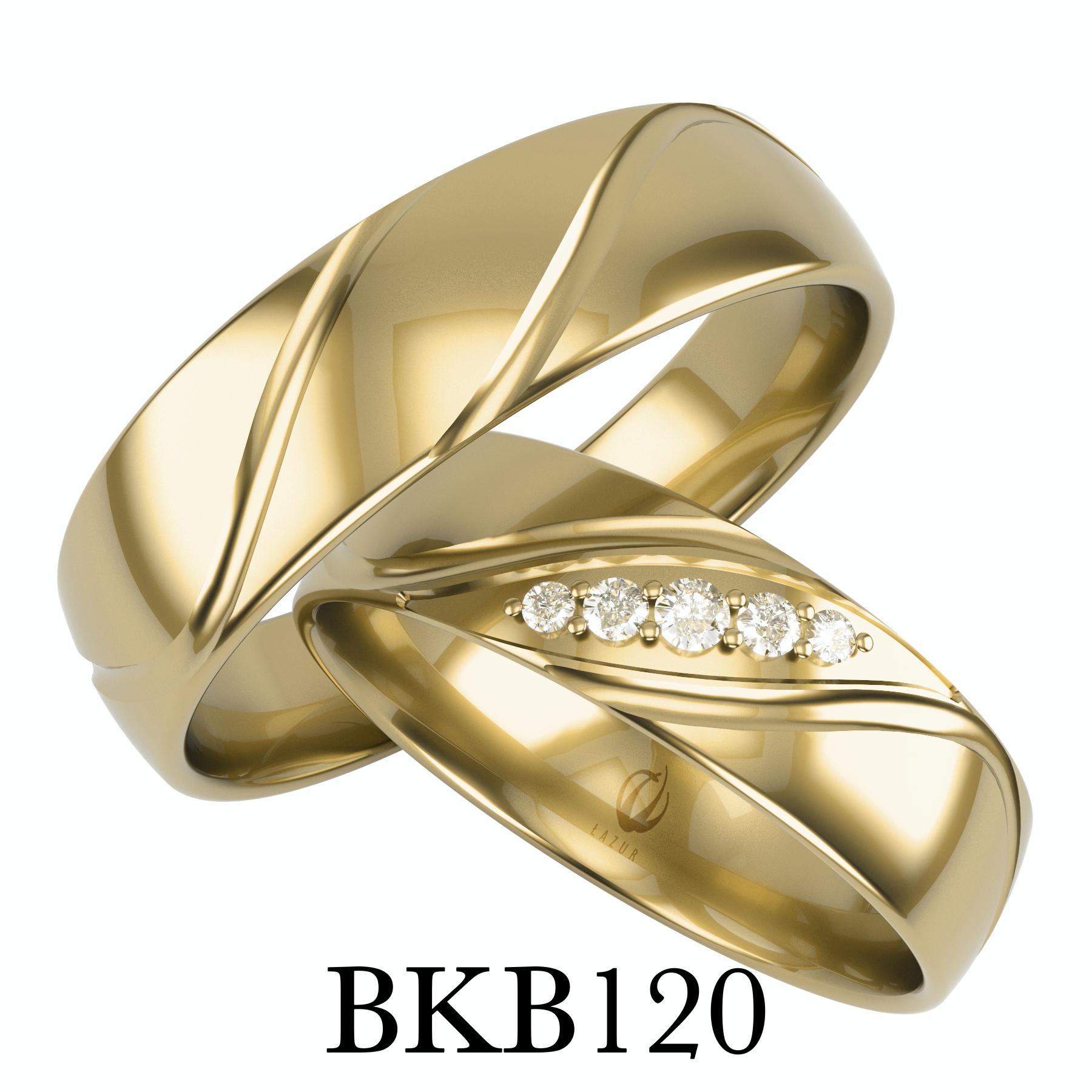 bizuteriakumor.pl obrączki półokrągłe klasyczne obrączka damska zdobiona 5 cyrkoniami brylantami po ukosie bkb120 1