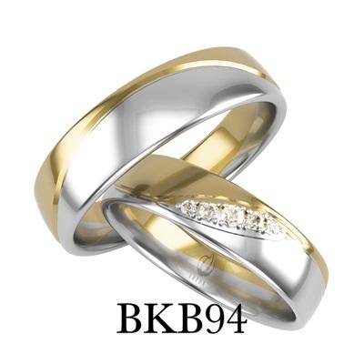 bizuteriakumor.pl obraczki24.com.pl komplet obrączek dwa kolory złota łaczone po lekkiej fali brylanty cyrkonie markiza po ukosie BKB94