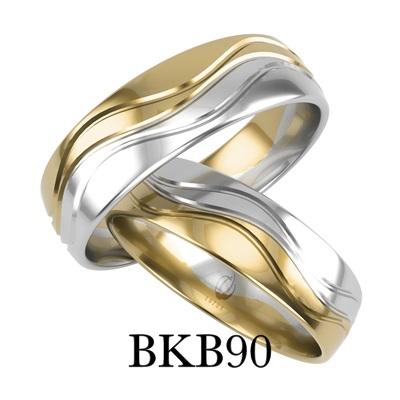 bizuteriakumor.pl obraczki24.com.pl obrączki łączone dwa kolory złota po fali zdobione frezem fala BKB90