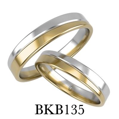 bizuteriakumor.pl obraczki24.com.pl para obrączek złotych dwa kolory żółte i białe złoto przedzielone paskiem i frezem jako odcięcie kolorów złoto 585 750 b135