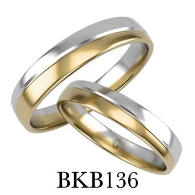 bizuteriakumor.pl obraczki24.com.pl para obrączek złotych dwa kolory żółte i białe złoto przedzielone paskiem i frezem jako odcięcie kolorów złoto 585 750 lekko Ļółokrągły profil bkb136