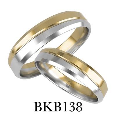 bizuteriakumor.pl obraczki24.com.pl para obrączek złotych dwa kolory żółte i białe złoto przedzielone paskiem i frezem jako odcięcie kolorów złoto 585 750 mocniejsze fazy boczne BKB138