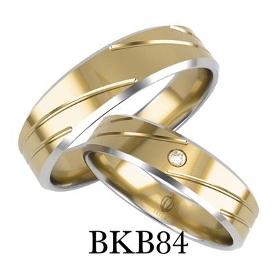 bizuteriakumor.pl złote obrączki profil prosty fazowane boki z białego złota zdobienia po ukosie cyrkonia brylant BKB84