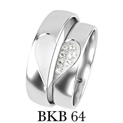 obrączki białe złoto dwie połowki serca białe złoto palladowe cyrkonie brylanty bkb64
