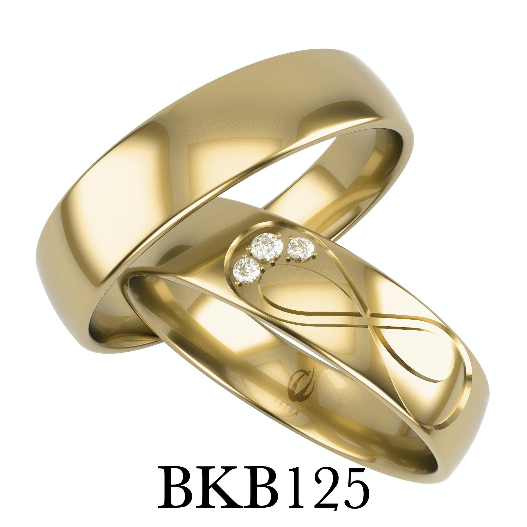 obrączki z znakiem nieskończoności i z cyrkoniami lub brylantami bkb125
